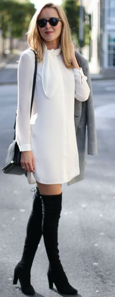 Memorandum White Tie Neck Shirtdress Fall Streetstyle Inspo