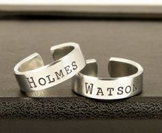 Holmes and Watson Ring Set - Best Friends - Sherlock Holmes - Friendship Rings