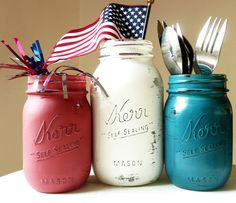 fourth of july. Red, White, Blue Painted and Distressed Shabby Chic Mason Jars by Beach Blues - contemporary - tabletop - Etsy July Crafts, Holiday Crafts, Holiday Fun, Holiday Ideas, Holiday Decorations, Holiday Parties, Holiday Recipes, Table Decorations, Blue Mason Jars