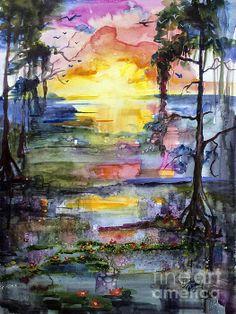 Watercolor Magic Sunrise in the Oke #Georgia