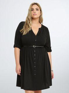 Plus Size Button Front Shirt Dress, DEEP BLACK