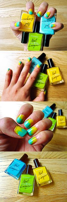 Summer Brights Scalloped Nail Art Design - using American Apparel's Nail Lacquer in Sunshine State (yellow), Crescent Heights (green), and The Valley (blue) #americanapparel #AAsummernails