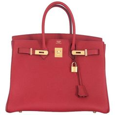 ab66fe31bdfd Hermes 35cm Birkin Bag Red Rouge Grenat Togo Leather GHW INCREDIBLE COLOR 1