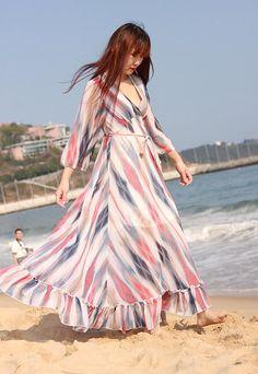 e11c3353848 rainbow stripe summer maxi dress flowy chiffon dress long beach dresses V  neck holiday high waist sundress gown casual clothing plus size