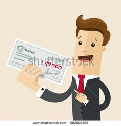 Happy businessman or manager holds in his hand a check with a large sum. Vector, illustration, flat