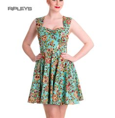 HELL BUNNY Mini Dress IDAHO Sugar Skulls/Flowers Summer Blue All Sizes Thumbnail 1