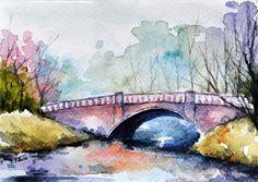 ORIGINAL Aquarell Gemälde, Park-Bridge-Illustration, Brücke Painting, bunte Kunst Kleinkunst-Format 4 x 6 Zoll