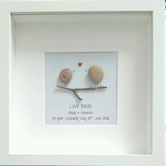 Handmade Wedding or Engagement gift, Pebble Art Framed Personalised Bride Groom
