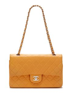 Orange Quilted Lambskin Leather Large Classic 2.55 Double Flap Bag by Chanel