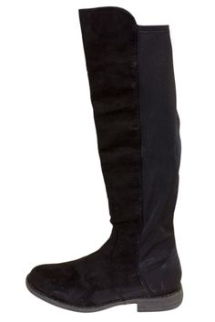 Black Faux Suede Knee High Boots With Elastic Paneling