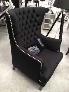 Audrey Wing Back Chair Black