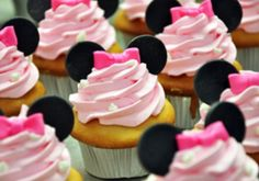 Minnie Mouse Ears & Bows Edible Fondant Cupcake Toppers - 12 Pieces by Sugar Love & Happiness on Gourmly
