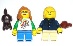 LEGO City Boy/Girl Minifigures Red/Blonde Hair Space/Striped Shirts Kitten/Frog #LEGO Lego Custom Minifigures, Red Blonde Hair, Striped Shirts, City Boy, Legoland, Lego City, Kitten, Space, Boys