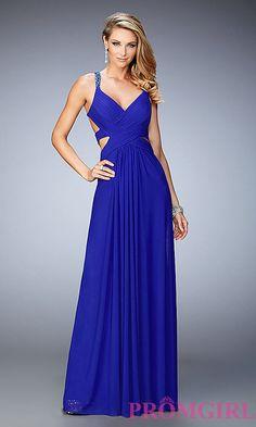Long La Femme V-Neck Open Back Dress. Long Prom GownsCute ... 386edd326eae