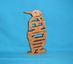 Penguin Wooden Puzzle by huebysscrollsawart on Etsy, $12.00