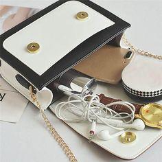 42a855805b Fashion Women Bag Girls Leather Chain Handbag Crossbody Shoulder Bag Female  Casual Hit Color Mini Small Messenger Phone Bag