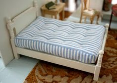 Dollhouse bed - tufted mattress DIY