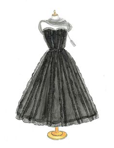 Hey, I found this really awesome Etsy listing at https://www.etsy.com/listing/204054556/watercolor-1950-chanel-dress-fashion