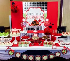 | Ladybug Birthday Candy and Dessert Table | www.cwdistinctivedesigns.com | www.candybuffetsnj.com | #lovebug #desserttables #candybuffet
