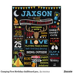 Camping First Birthday chalkboard poster sign boy