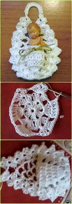Crochet Mini Cradle Ornament Free Pattern - Crochet Christmas Ornament Free Patterns