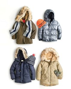 J.Crew kids' Nordic parka, boys' striped cashmere scarf, marshmallow puffer jacket, kids' reversible eyeglasses beanie, boys' expedition parka, kids' classic striped beanie with pom-pom, boys' fishtail parka and camo gloves. To pre-order, call 800 261 7422 or email verypersonalstylist@jcrew.com.