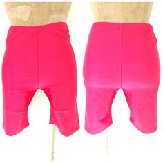 Vintage 80s Shiny Spandex Shorts Size Large Pink Workout Jazzercise Exercise  #Unknown #Casual