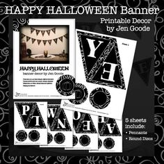Happy Halloween printable banner craft by Jen Goode