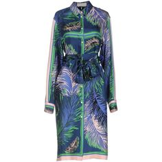 Emilio Pucci Knee-length Dress (5,870 CNY) ❤ liked on Polyvore featuring dresses, blue, long sleeve shirt dress, long sleeve knee length dress, knee length shirt dress, knee high dresses and multi-color dresses