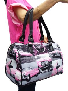 "US HANDMADE PINK CADILLAC CAR ROCKABILLY RETRO Pattern Doctor Bag Satchel Style Handbag Purse , DRB 3126. US Handmade Handbag Doctor bag with 7"" Double Handle. Size: 13"" length x 9"" high x 6"" Deep, 7"" Double handle, Completely Red Satin Lined Inside, Inside Zipper Compartment, Inside Pocket, Top Zipper Closure, 4 Layers Of Fabric,. THIS ITEM COMES WITH ASSORTED IMAGES."