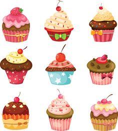 Various sweet cakes set vector 10
