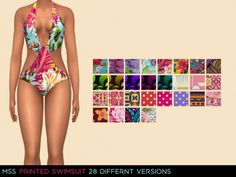 Printed Swimsuit by midnightskysims at SimsWorkshop • Sims 4 Updates