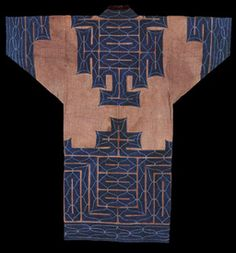 "Chikarpe Robe. Cotton, Applique, Embroidery. Ainu, Hokkaido, Japan. Meiji Period, Circa 19th Century. 52"" x 50 in."