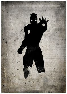All Black Silhouette Superhero Iron Man Poster by RightBrainJooz
