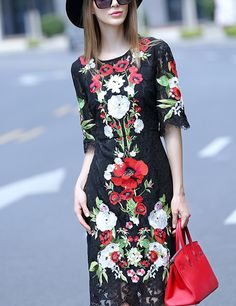 2016 Spring Runway Designer Dress Women's High Quality Half Sleeve Colourful Floral Embroidery Elegant Lace Mid Calf Dress