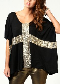 Loose Round Neck Sequins Decoration Black Blouse   modlily.com