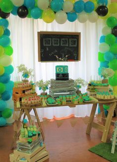 Starting school theme, rustic theme, chalkboard theme, Green and teal colour scheme. We just love setting up this Dessert Buffet. The colours are so bright and fun!  Balloon Arch backdrop