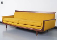 Mid-Century Modern Walnut Sofa   From a unique collection of antique and modern sofas at https://www.1stdibs.com/furniture/seating/sofas/