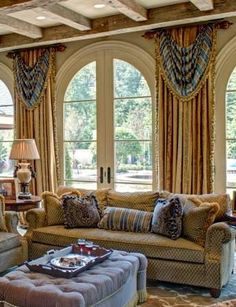 Gold textured stationary drapes with striped swags on custom rods. Arched Windows, Windows And Doors, Shaped Windows, Arched Doors, Luxury Curtains, Home Curtains, Custom Window Treatments, Interior Decorating, Interior Design