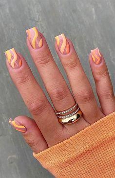 Acrylic Nails Coffin Short, Simple Acrylic Nails, Summer Acrylic Nails, Best Acrylic Nails, Simple Nails, Summer Nails, Orange Nail Designs, Acrylic Nail Designs, Nail Art Designs
