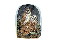 'Orford Owls' by Angela Harding, 2015 (block and silkscreen print)