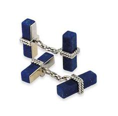 A PAIR OF 18 CARAT WHITE GOLD AND LAPIS LAZULI CUFFLINKS, BY CARTIER