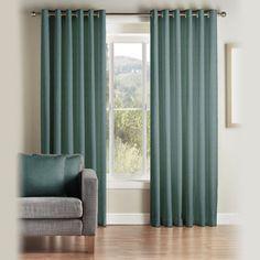 Montgomery Teal 'Addo' Fully Lined Eyelet Curtains | Debenhams