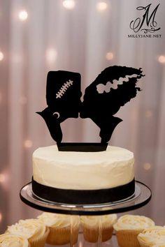 Classic Horror Wedding Cake Frankenstein and his Bride www.millyjane.net