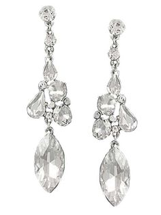 """<p>Striking icy clear crystal chandelier earrings will make a stunning statement when worn with glamorous Old Hollywood Style evening gowns.</p> <p>Faceted rhinestones in round, pear and marquis shapes wil glitter beautifully.</p> <p>Silvertone metal mounting, with post back.</p> <p>3"""" long</p> <p>Lead and nickel compliant.</p> <p>Lightweight, comfortable to wear.</p>"""