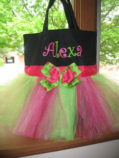 Tutu Tote Bag  Pink and Lime Green by gkatdesigns on Etsy, $30.00
