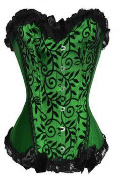 Atomic Green Vines Velvet Strapless Corset ... a good Poison Ivy option