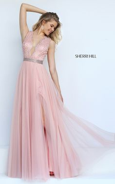 Sherri Hill 50029 Blush A Line Long Homecoming Dress