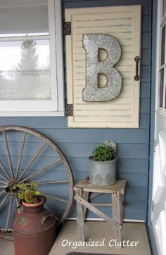 Outdoor Junk Vignette & Cabinet Door Decor Project Tutorial www.organizedclutterqueen.blogspot.com
