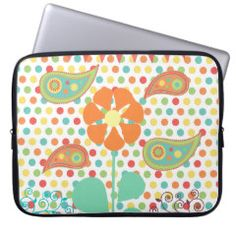 Flower Polka Dots Paisley Spring Whimsical Gifts Computer Sleeves